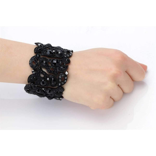 Floral Stretch Bracelet Vintage Flower Crystal Women Fashion Jewelry Gifts Black Gold Silver: Womens Jewelry- Shop MIXXCI