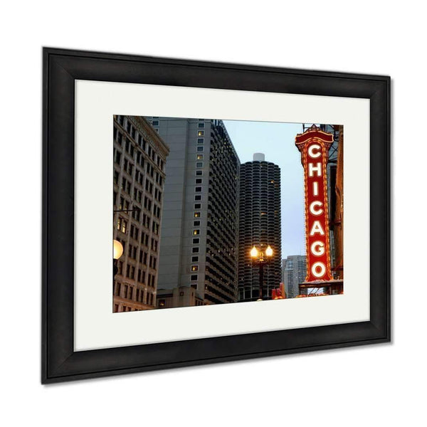 Framed Prints, Chicago Sign Wall Art Decor Giclee Photo Print In Black Wood Frame, Soft White: Framed Print- Shop MIXXCI