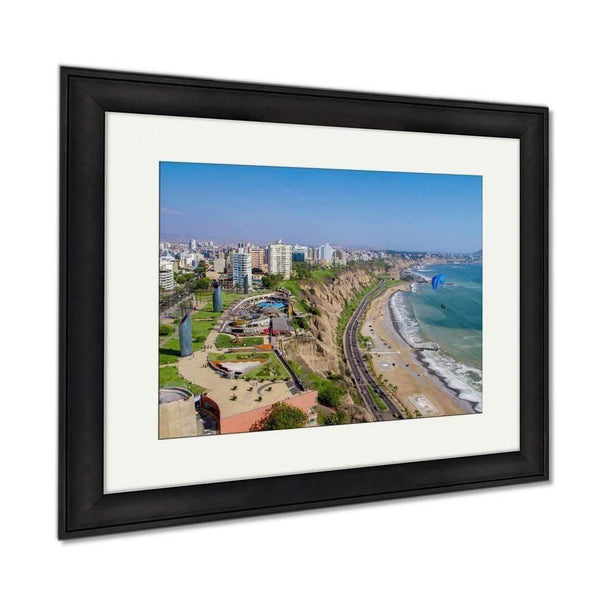 Framed Prints, View Of Miraflores Park Lima Peru Wall Art Decor Giclee Photo Print In Black Wood: Framed Print- Shop MIXXCI