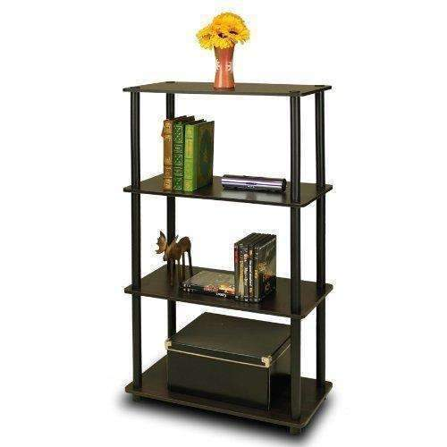 Furinno (99557Ex/Bk) Turn-N-Tube 4-Tier Multipurpose Shelf Display Rack - Espresso/Black: Office Furniture & Lighting- Shop MIXXCI