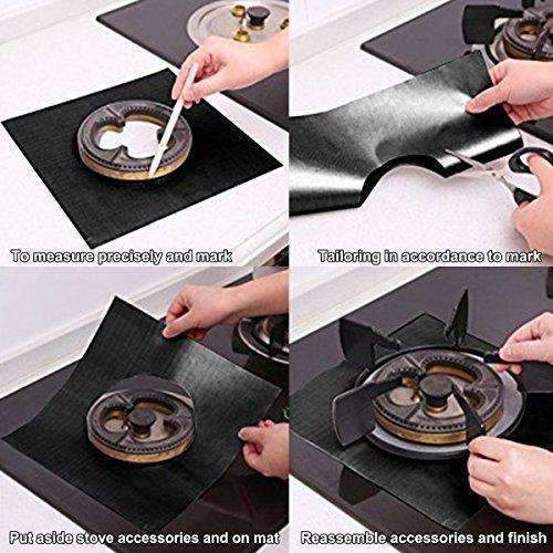 "Gas Stove Burner Covers 8 Pack - Crazylynx Double Thickness Gas Range Protectors With Fda Approved, Reusable, Non-Stick, Heat-Resistant - Black (10.6"" X 10.6""): Appliances- Shop MIXXCI"