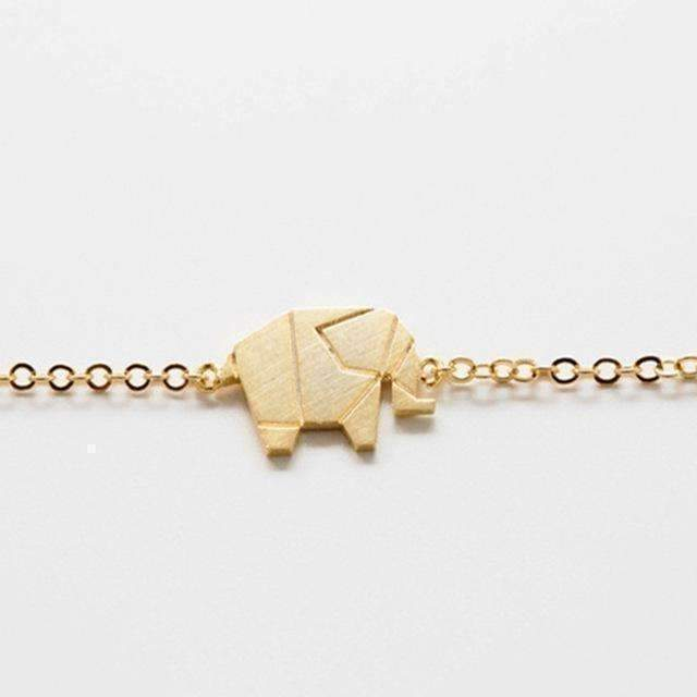 Gold Color Charms Bracelet Femme Stainless Steel Women Dainty Jewelry Lucky Origami Elephant, Gold-color: Womens Jewelry- Shop MIXXCI