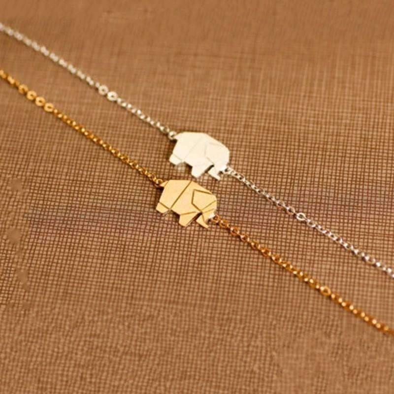 Gold Color Charms Bracelet Femme Stainless Steel Women Dainty Jewelry Lucky Origami Elephant: Womens Jewelry- Shop MIXXCI