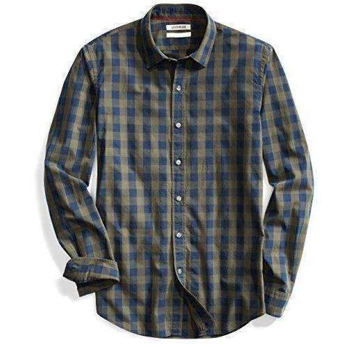 Goodthreads Men'S Slim-Fit Long-Sleeve Large-Scale Check Shirt: Mens Shirts- Shop MIXXCI