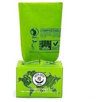 Green Earth Compostable Biodegradable Food Waste Kitchen Trash Bags, 50-Count, 13 Gallon, Superior Strength With 0.85 Mil Thickness, Us Bpi, Europ Vincette Ok Compost Home And Astm6400 Certificated: New- Shop MIXXCI
