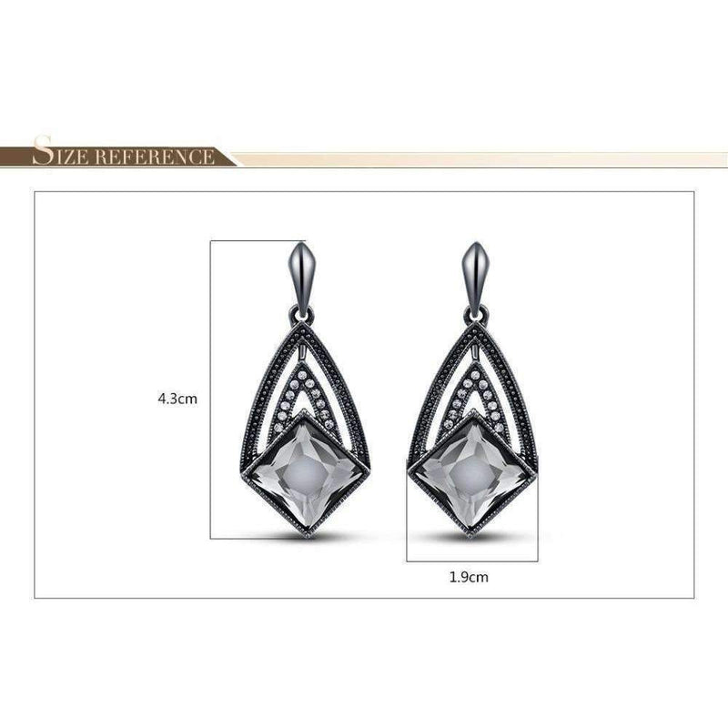 Gunmetal Color Geometric Dangle Earrings For Woman Trendy Rhinestone Crystal Woman Drop Earrings: Womens Jewelry- Shop MIXXCI