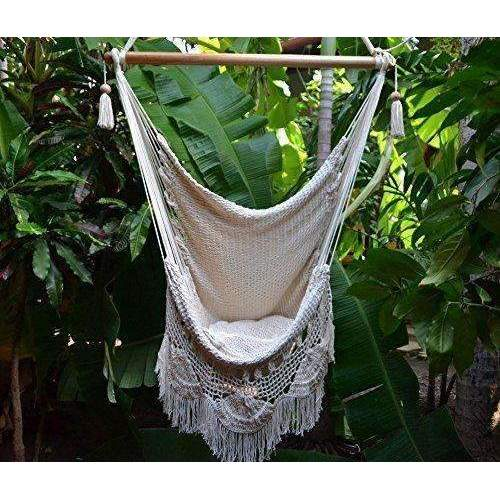 Handmade Hanging Rope Hammock Chair - All Natural Indoor Or Outdoor Porch Swing Patio Swing Chair (Off-White): Patio Furniture & Accessories- Shop MIXXCI