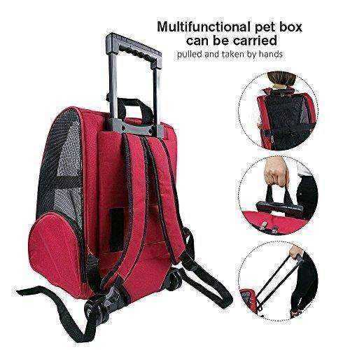 Harbo Pet Travel Carrier Rolling Backpack For Dogs Cats Small Animals Airline Travel Tote (Red): Dog Supplies- Shop MIXXCI