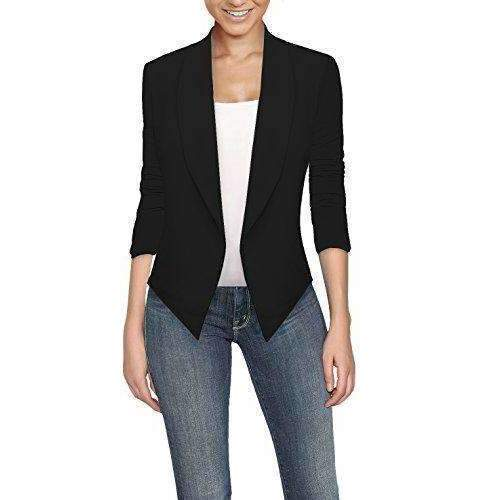 Hybrid & Company Womens Casual Work Office Open Front Blazer Jacket Made In Usa: Womens Blazers- Shop MIXXCI