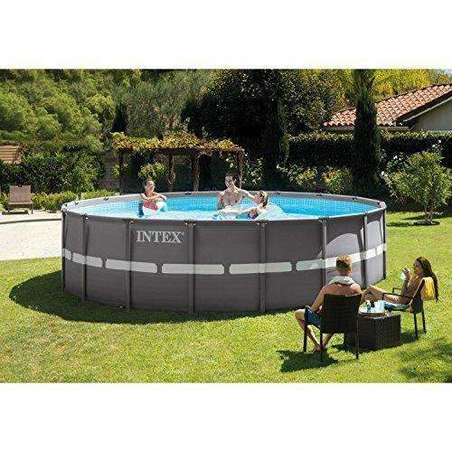 Intex 18Ft X 52In Ultra Frame Pool Set With Filter Pump & Saltwater System, Ladder, Ground Cloth, Pool Cover, Deluxe Maintenance Kit & Volleyball Set: Swimming Pools- Shop MIXXCI