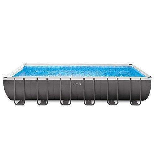 Intex 24Ft X 12Ft X 52In Ultra Frame Rectangular Pool Set With Sand Filter Pump, Ladder, Ground Cloth & Pool Cover: Swimming Pools- Shop MIXXCI