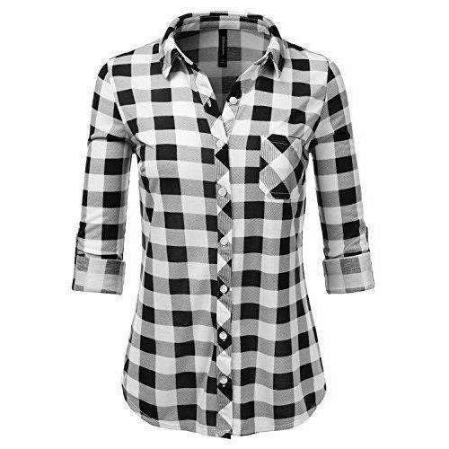 Jj Perfection Womens Long Sleeve Collared Button Down Plaid Flannel Shirt: Outdoor Recreation- Shop MIXXCI