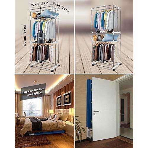 KASYDoFF Clothes Dryer Portable 3-Tier 1.7 Meters Foldable Clothes Drying Rack Energy Saving (Anion) Clothing Dryers Digital Automatic Timer with Remote Control for Apartment Houses: - Shop MIXXCI