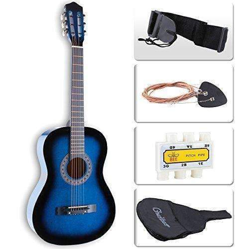 Lagrima Acoustic Guitar Beginners With Guitar Case, Strap, Tuner & Pick Steel Strings (Blue): Acoustic Guitars- Shop MIXXCI