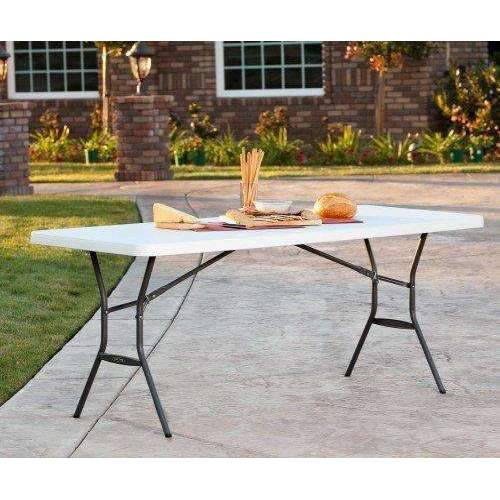 Lifetime 25011 Fold In Half Light Commercial Table, 6 Feet, White Granite: Patio Furniture & Accessories- Shop MIXXCI