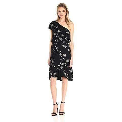 Lucky Brand Women'S Botanical Ruffle Dress, Black/Multi: Women's Dresses- Shop MIXXCI
