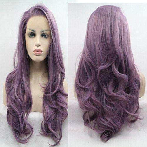 Lucyhairwig Long Wavy Synthetic Lace Front Wig Glueless Purple High Temperature Heat Resistant Fiber Hair Wigs For Women: Hair Care Products- Shop MIXXCI
