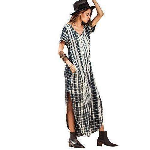 Makemechic Casual Maxi Short Sleeve Split Tie Dye Long Dress: Womens Dresses- Shop MIXXCI
