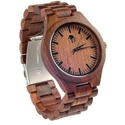 Men'S Wood Watch - Wooden Bamboo Dial - Sandalwood Bezel - Wood Band - By Viable Harvest: Men's Watches- Shop MIXXCI
