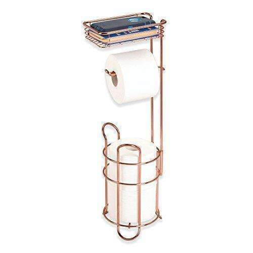 Metrodecor Mdesign Toilet Paper Dispenser And Reserve With Storage Shelf For Bathroom Storage - Rose Gold: Bath Products- Shop MIXXCI