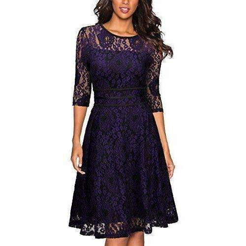 Miusol Women'S Vintage Floral Lace Cocktail Evening Party Dress: Womens Dresses - Cocktail- Shop MIXXCI