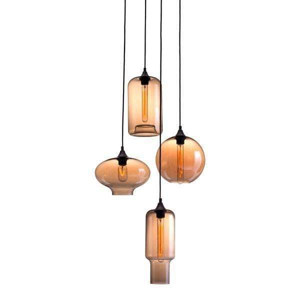 Modern Lambie Ceiling Lamp Rust & Amber, Default Title: Living Room Furniture- Shop MIXXCI