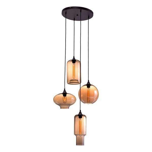 Modern Lambie Ceiling Lamp Rust & Amber: Living Room Furniture- Shop MIXXCI