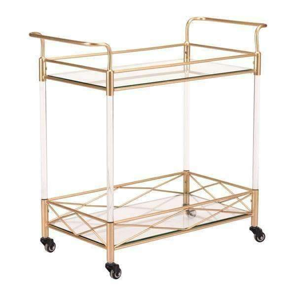 Modern Lucite Bar Cart Gold, Default Title: Living Room Furniture- Shop MIXXCI