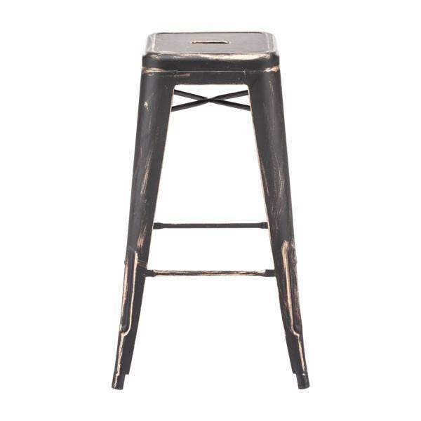 Modern Marius Barstool Antique Black Gold (Set of 2): Living Room Furniture- Shop MIXXCI