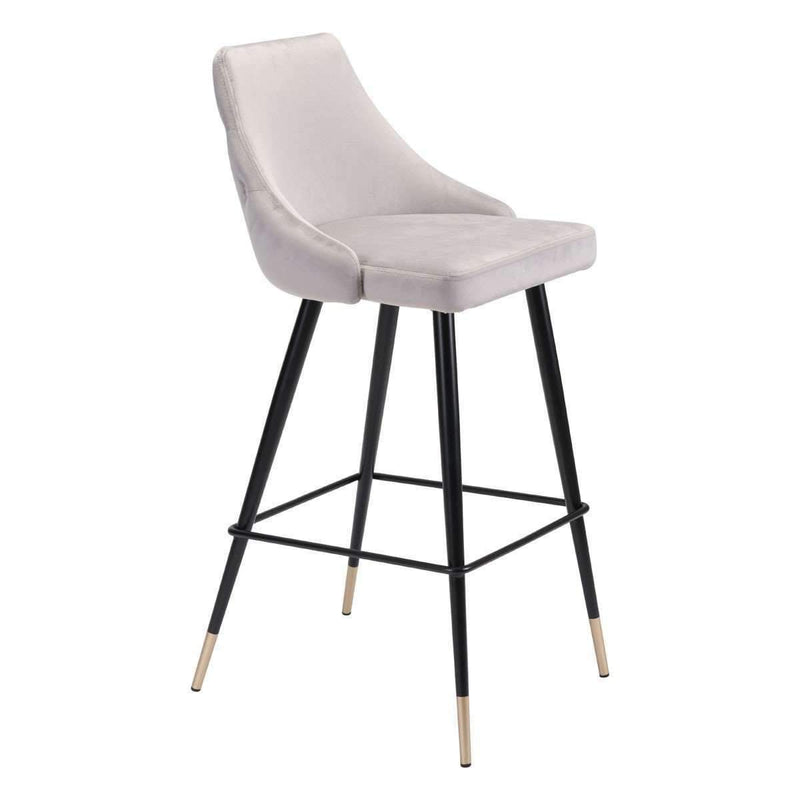 Modern Piccolo Bar Chair Gray Velvet, Default Title: Living Room Furniture- Shop MIXXCI