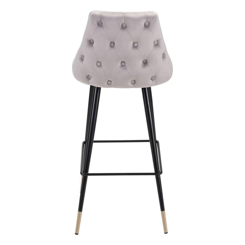 Modern Piccolo Bar Chair Gray Velvet: Living Room Furniture- Shop MIXXCI