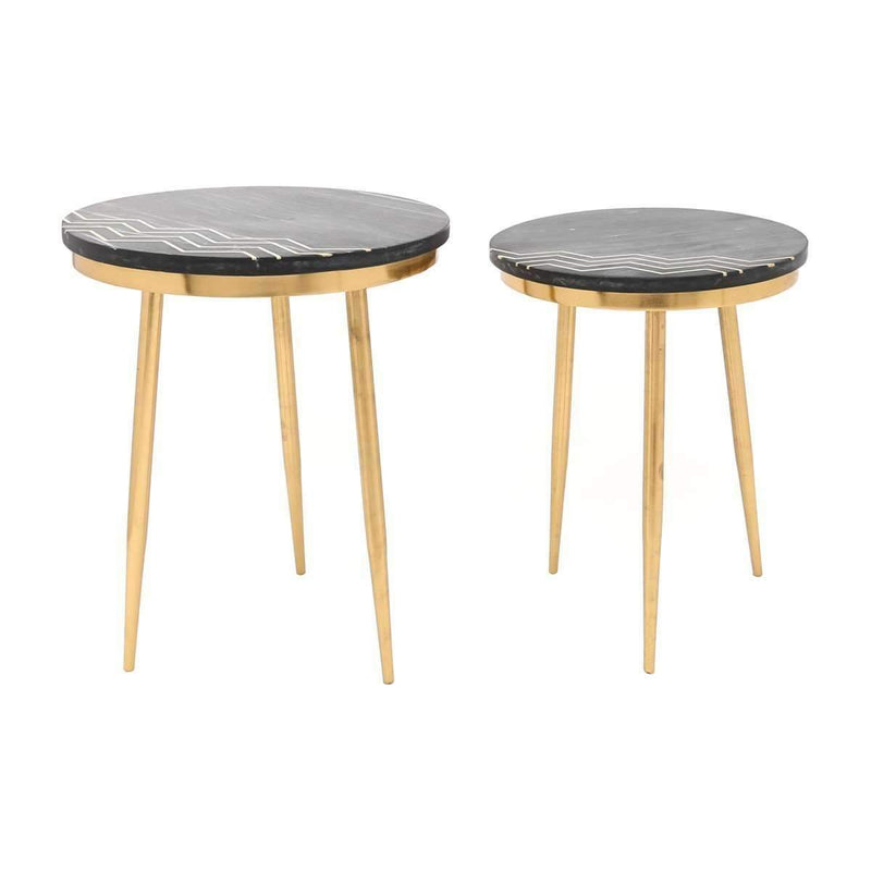 Modern Rumi Accent Table Set Black Marble & Brass, Default Title: Living Room Furniture- Shop MIXXCI