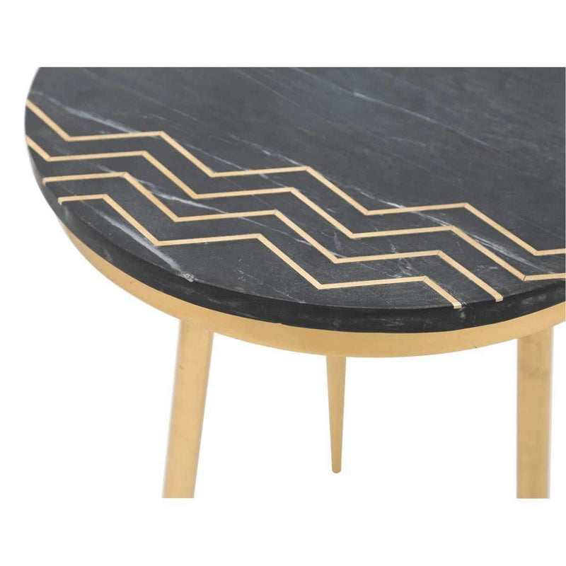 Modern Rumi Accent Table Set Black Marble & Brass: Living Room Furniture- Shop MIXXCI