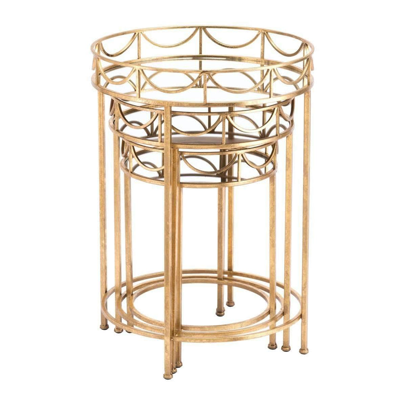 Modern Set of 3 Side Tables Gold: Living Room Furniture- Shop MIXXCI
