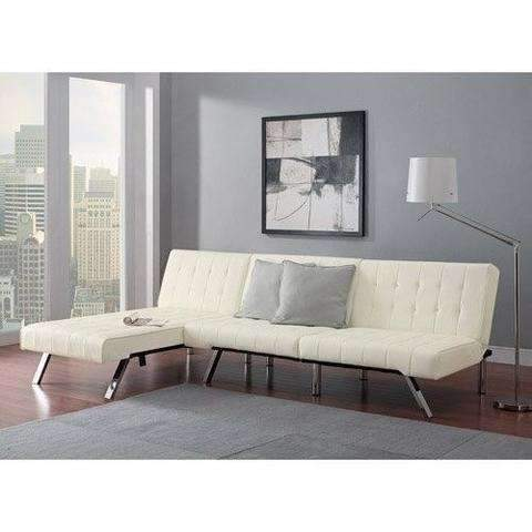 Modern Sofa Bed Sleeper Faux Leather Convertible Sofa Set Couch Bed Sleeper Chaise Lounge Furniture Vanilla White: Living Room- Shop MIXXCI