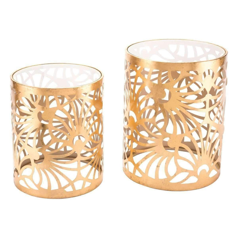 Modern Tropic Set Of 2 Gold Tables Gold: Living Room Furniture- Shop MIXXCI