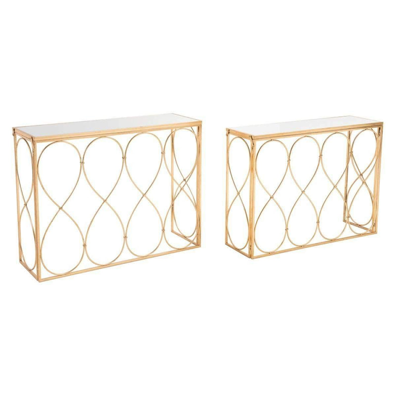 Modern Twist Set of 2 Console Tables Gold, Default Title: Living Room Furniture- Shop MIXXCI