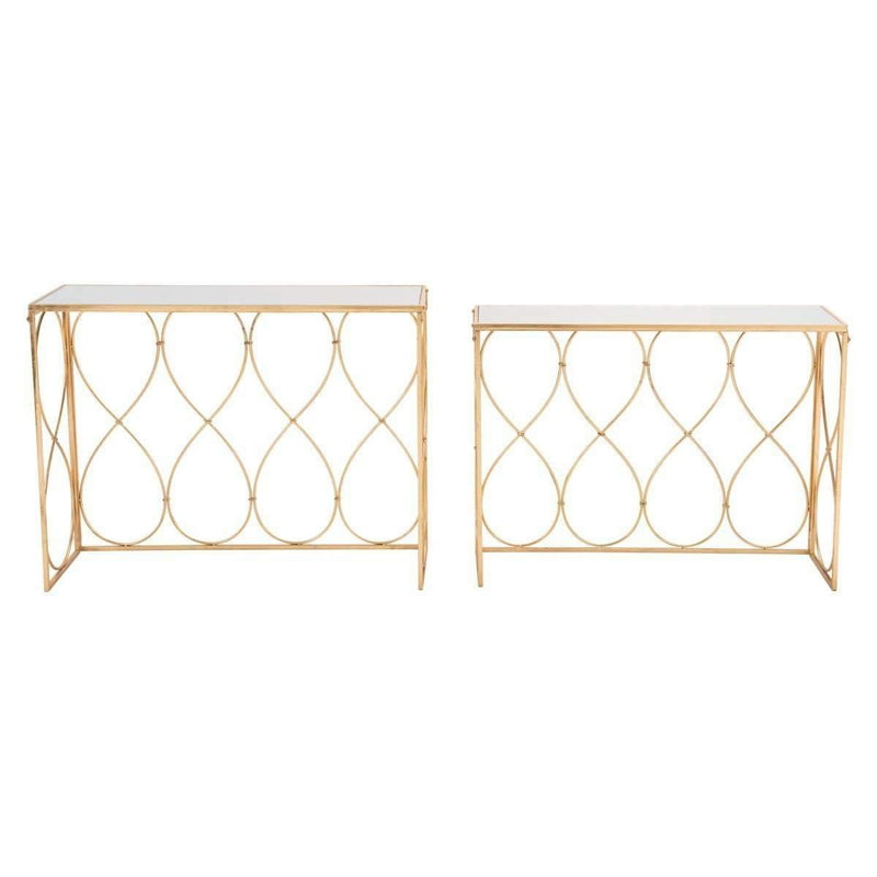 Modern Twist Set of 2 Console Tables Gold: Living Room Furniture- Shop MIXXCI