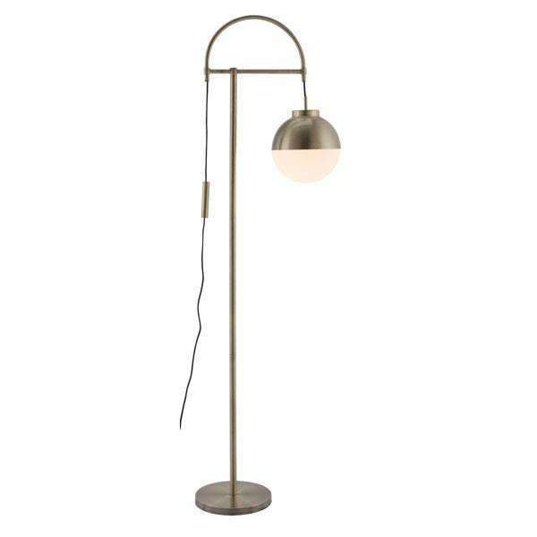 Modern Waterloo Floor Lamp White & Brushed Brass, Default Title: Living Room Furniture- Shop MIXXCI