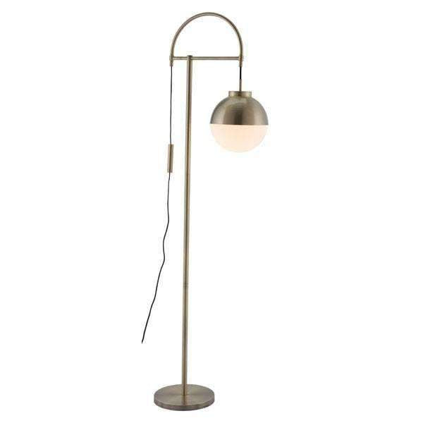 Modern Waterloo Floor Lamp White & Brushed Brass: Living Room Furniture- Shop MIXXCI