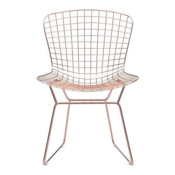 Modern Wire Dining Chair Rose Gold (Set of 2): Living Room Furniture- Shop MIXXCI