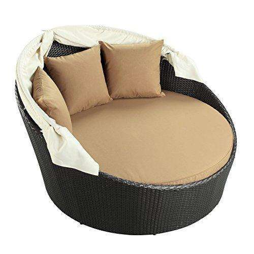 Modway Siesta Outdoor Wicker Patio Espresso Canopy Bed with Mocha Cushions: - Shop MIXXCI