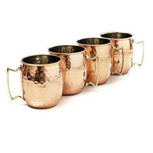 Moscow Mule Hammered Copper 18 Ounce Drinking Mug, Set Of 4: Barware- Shop MIXXCI