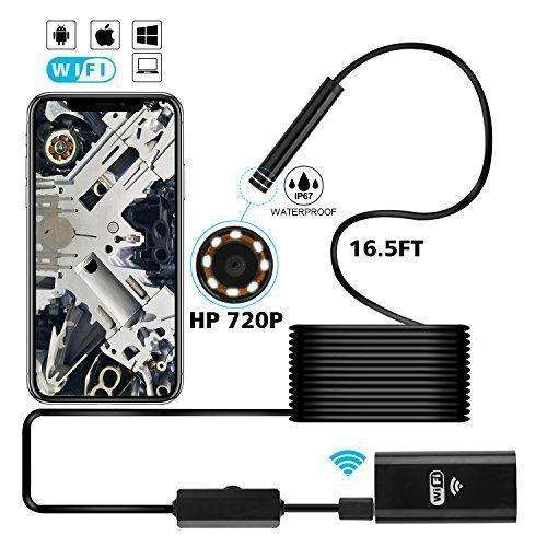 Mousand Endoscope Inspection Camera For Android Iphone Hd Snake Camera Waterproof Ip67 Wireless Wifi Borescope -Black, Semi-Rigid 16.5Ft Cable: - Shop MIXXCI