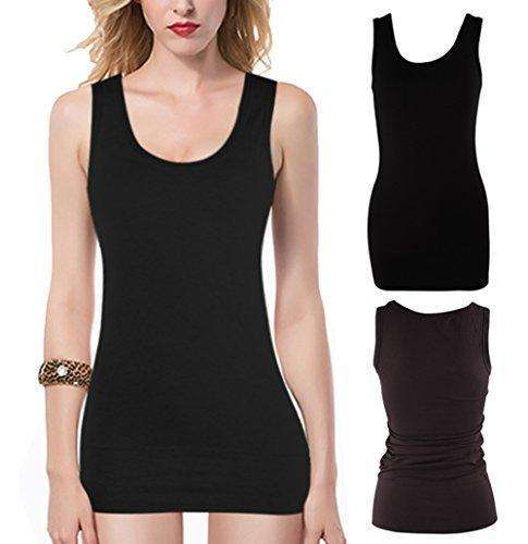 Moxeay Women Scoop Neck Cotton Extra Long Tank Top Vest: Womens Lingerie - Camis & Tanks- Shop MIXXCI
