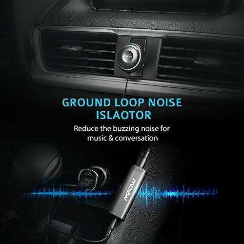 Mpow Bluetooth Receiver For Car, Hands-Free Car Kits / Bluetooth Aux Car Adapter 3 In 1 With Dual Usb Car Charger & Ground Loop Noise Isolator For Car Audio System (Hfp/Hsp/A2Dp/Acrcp): - Shop MIXXCI