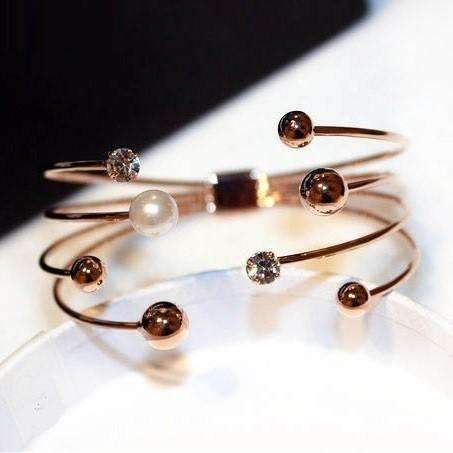 Multi-Layer Rose Gold-Color Cuff Bracelets For Women Bangle Open Design Classic Fashion Jewelry: Womens Jewelry- Shop MIXXCI