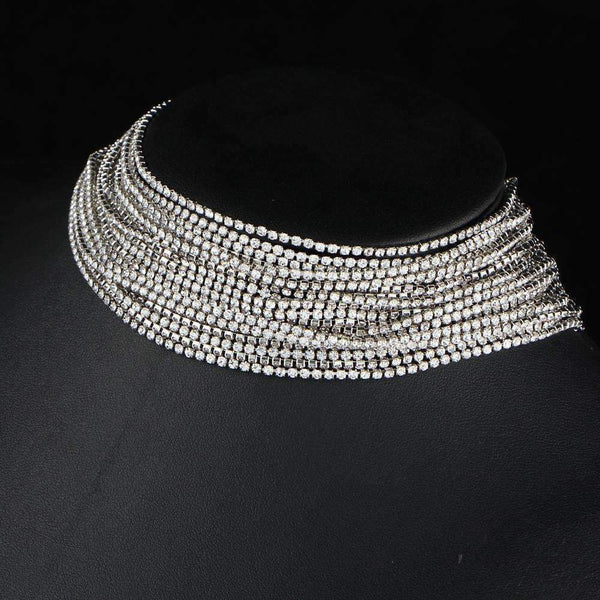 Multiple Layers Rhinestone Crystal Choker Necklace For Women New Bijoux Maxi Statement Necklaces, Silver: Womens Jewelry- Shop MIXXCI
