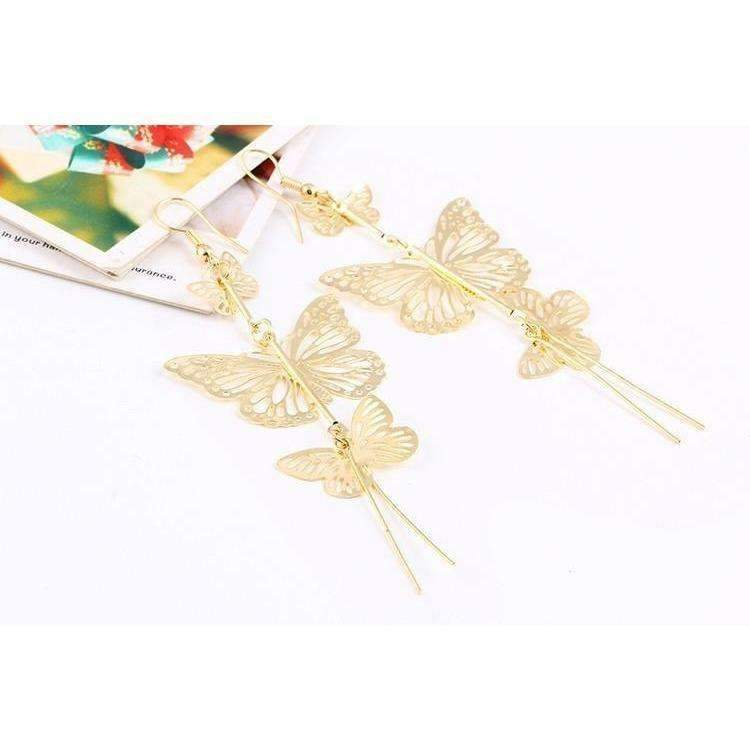 New Fashion Gold Color Alloy Double Bow Butterfly Drop Earrings Jewelry Hollow Flower Long: Womens Jewelry- Shop MIXXCI