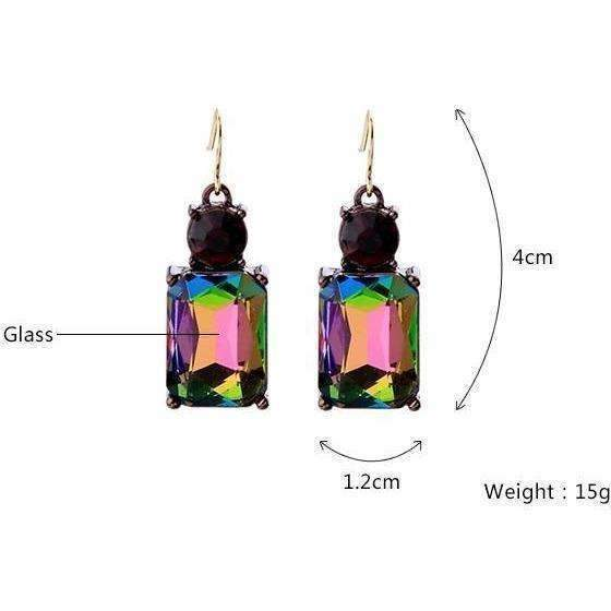 New Styles Women Fashion Jewelry Elegant Glass Square Earrings For Women: Womens Jewelry- Shop MIXXCI